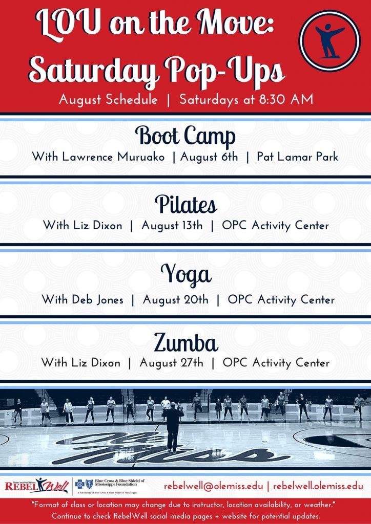 August Schedule 2016